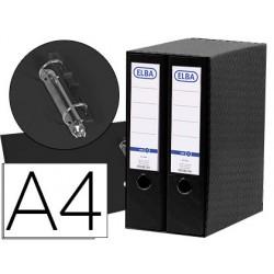 Modulo elba 2 archivadores de palanca din a4 con rado 2 anillas negro lomo de 80 mm