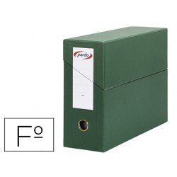 Caja transferencia pardo folio forrado extra doble lomo 80 mm estuche interior con tarjetero verde