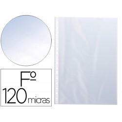 Funda multitaladros q-connect folio 120 mc cristal bolsa de 10 unidades