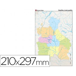 Mapa mudo color din a4 castilla-leon politico