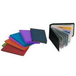 Portatarjetas de credito fabricadas en pvc base opaca capacidad 10 tarjetas colores surtidos expositor de 30 uds