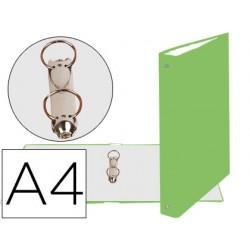 Carpeta de 2 anillas 30mm redondas exacompta din a4 carton forrado verde anis