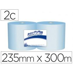 Papel secamanos industrial amoos 2 capas 235 mm x 300 mt color azul paquete de 2 rollos