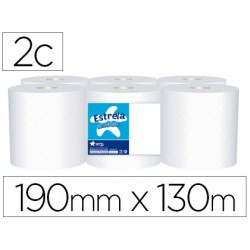 Papel secamanos amoos 2 capas 190 mm x 130 mt paquete de 6 rollos