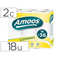Papel higienico amoos doble largo 2 capas 120 mm diametro x 90 mm alto paquete de 18 rollos