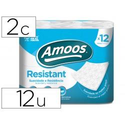 Papel higienico amoos 2 capas 100 mm diametro x 87 mm alto paquete de 12 rollos