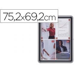 Vitrina de anuncios nobo mural magnetica de exterior din a4 con puerta y marco con cerradura de aluminio