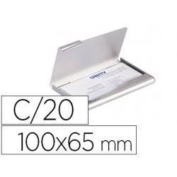 Tarjetero durable aluminio capacidad 20 tarjetas de visitas 55x90 mm color plata 100x65 mm