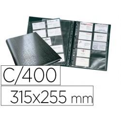Tarjetero durable din a4 visifix centium 4 anillas 20 fundas con indice alfabetico para 400 tarjetas de visita