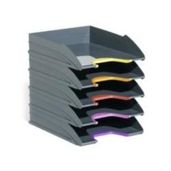 Bandeja sobremesa durable plastico gris 255x55x330 mm pack de 5 unidades