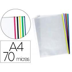 Funda multitaladro q-connect din a4 70 mc cristal con borde colores surtidos bolsa de 25