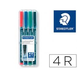 Rotulador staedtler lumocolor retroproyeccion punta de fibra permanente 317 wp estuche 4 colores punta media