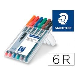 Rotulador staedtler lumocolor retroproyeccion punta de fibra permanente 318 wp estuche 6 colores punta fina