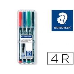 Rotulador staedtler lumocolor retroproyeccion punta de fibra permanente 318 wp estuche 4 colores punta fina