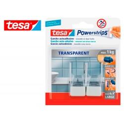 Gancho autoadhesivo tesa powerstrips grande transparente/acero + tiras sujecion hasta 1 kg