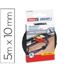 Velcro autoadhesivo tesa negro 5 m x 10 mm para agrupar cables