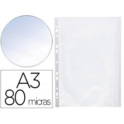 Funda multitaladro q-connect din a3 apaisada 80 micras cristal con apertura superior - bolsa de 10