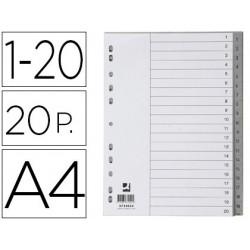 Separador numerico q-connect plastico 1-20 juego de 20 separadores din a4 multitaladro