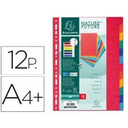 Separador exacompta cartulina simil prespan juego de 12 separadores din a4+ multitaladro colores vivos
