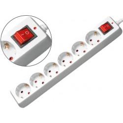 Regleta 6 tomas mediarange blanca con interruptor longitud cable 1,4m