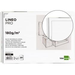 Bloc dibujo liderpapel lineal espiral 230x325mm 20 hojas 180 g/m2 con recuadro perforado