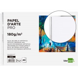 Bloc dibujo liderpapel artistico espiral 230x325mm 20 hojas 180 g/m2 sin recuadroperforado