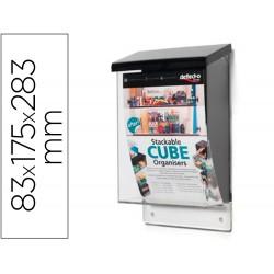 Buzon deflecto para material publicitario color transparente con tapa negra 83x175x283 mm
