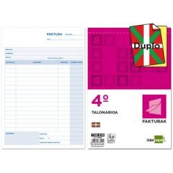 Talonario liderpapel facturas cuarto original y copia con iva t216-eus texto en euskera