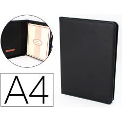 Carpeta portafolios artesania din a4 similpiel negro con cremallera y dptos. 332x262x30mm fabricada en ubrique