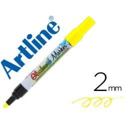 Rotulador artline glass marker especial cristal borrable en seco o humedo color amarillo fluor