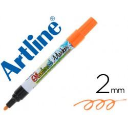 Rotulador artline glass marker especial cristal borrable en seco o humedo color naranja fluor