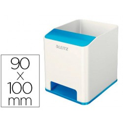 Cubilete portalapices leitz sound wow dual azul metalizado 90x100x101 mm