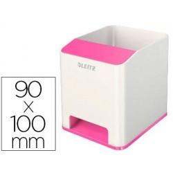 Cubilete portalapices leitz sound wow dual fucsia metalizado 90x100x101 mm
