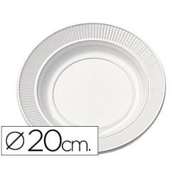 Plato de plastico blanco llano 20cm de diametro paquete de 50