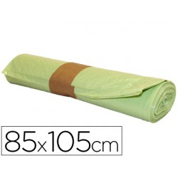 Bolsa basura industrial amarilla 85x105cm galga 110 rollo de 10 unidades