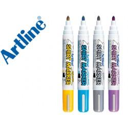 Rotulador artline camiseta ekt-2 amarillo,gris,celeste y violeta punta redonda 2 mm uso en camiseta caja de 4
