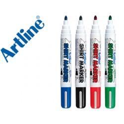 Rotulador artline camiseta ekt-2 negro rojo azul y verde punta redonda 2 mm para uso en camiseta caja de 4