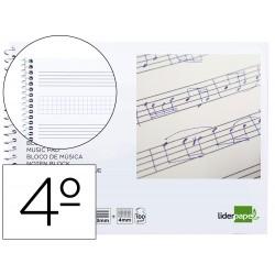 Bloc musica liderpapel combi pentagrama 3mm mas cuadricula de 4mm para anotaciones cuarto20 hojas 100g/m2