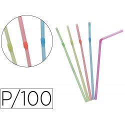 Pajita flexible de plastico pte /100
