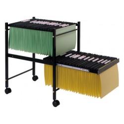 Carrito q-connect para carpeta s colgantes negro con ruedas ybandeja inferior extraible para carpetas tamaño folio