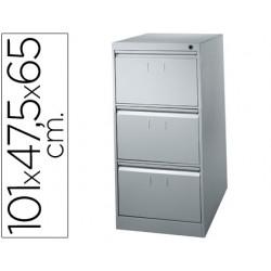 Fichero cajones de suelo metalico de 3 cajones 101 alto,65 prof. 47,5 ancho color gris n.1375 antivuelco