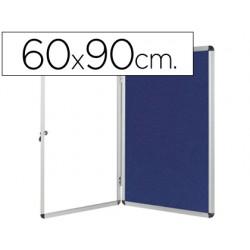 Vitrina de anuncios q-connect mural pequeña fieltro azul con puerta y marco con cerradura 72x98 cm