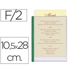 Porta menus liderpapel pvc 10,5 x 28 cm con 2 fundas