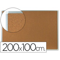 Pizarra corcho q-connect marco de aluminio 200x100 cm extra corcho 5 mm