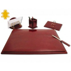 Escribania de sobremesa artesania de piel juego de 5 piezas 40x53,5x2,7 cm base de madera fabricada en ubrique