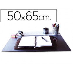 Vade sobremesa q-connect negro con solapas transparentes 50x65 cm