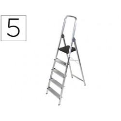 Escalera q-connect de aluminio 5 peldaños 1062x483x1675 mm peso maximo 150 kg en-131