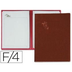 Porta menus pardo 4 fundas con laminas litografiadas marron