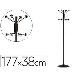 Perchero metalico 606-p negro -pie -8 colgadores