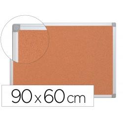 Pizarra corcho q-connect marco de aluminio 90x60 cm